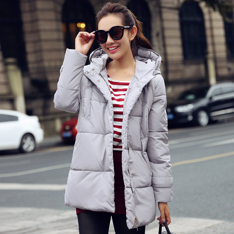 ФОТО Women Long Parkas Female Coat Thickening Cotton White Gray Jacket Womens Winter Outwear Parkas Outwear