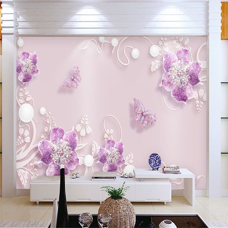 Customized Photo Wallpapers 3D Murals Purple Jewelry Flowers Wallpapers For Living Room Luxury Wall Papers Home Decor Bedroom