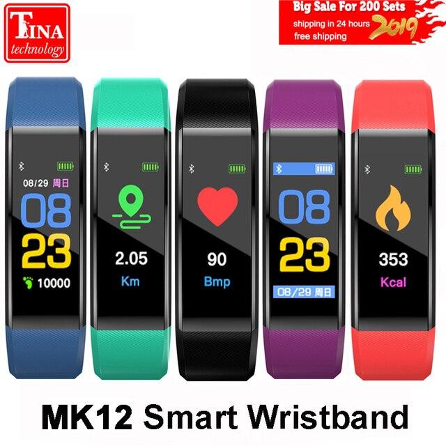 Оригинальный MK12 браслет монитор сердечного ритма Фитнес трекер Цвет Экран Спорт умный Браслет для IOS Android VS ID115 плюс