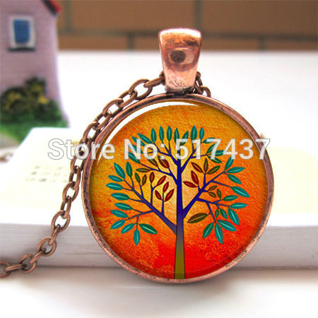 Mod Orange Tree pendant charm, tree jewelry resin pendant, tree necklace charm