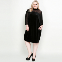 Velvet Straight Sleeve Long Sleeve Dress Vestidos Plus Size Women Autumn Clothing 2018 New Fashion Black Clothes XL 7XL Dress