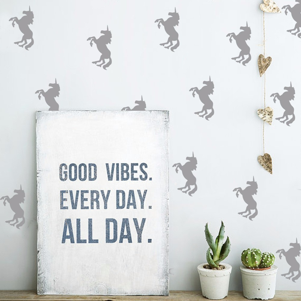 33pcs DIY Golden Unicorn Wall Sticker Kids Fods Rooms Decorative Vinyl Art Wall Stickers Home Decor For Kids Musery Rooms W-755