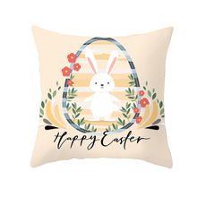Fuwatacchi Easter Home Decoration Pillow Case Eggs Rabbits Print Cover Chair Sofa Decorative Pillows Cushion