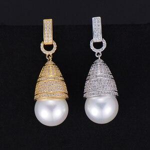 Image 3 - GODKI 45mm luxe Imitation perle cubique zircone CZ fiançailles femmes fête de mariage discothèque Statment boucle doreille