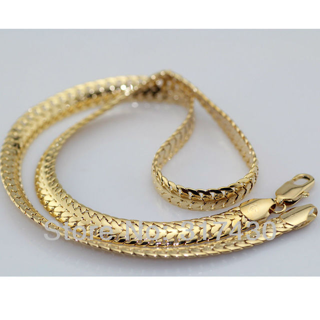 Wholesale Lowest Price Necklace Long Chain 18k 18ct yellow Gold filled Solid Curb Link Chain Necklace 60cm,7mm mens or womens