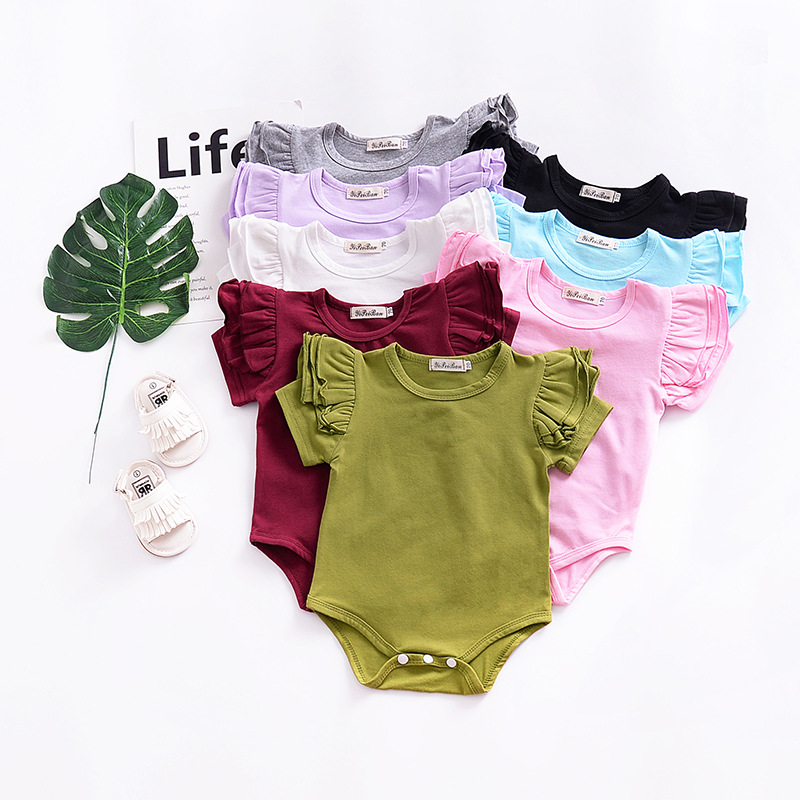 6M-2T baby girl summer flutter sleeve bodysuit solid color cotton o neck clothes for newborn toddler