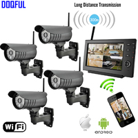 7 Monitor 2.4Ghz Digital Wireless CCTV Security Kit Built in Li Battery SD Recording Surveillance Camera de Seguranca Via Phone