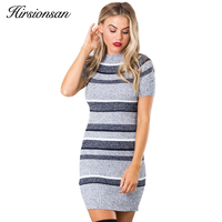 Hirsionsan 2017 Autumn Winter Dress Short Sleeve O Neck Knitted Sweater Dress Elegant Short Bodycon Dress