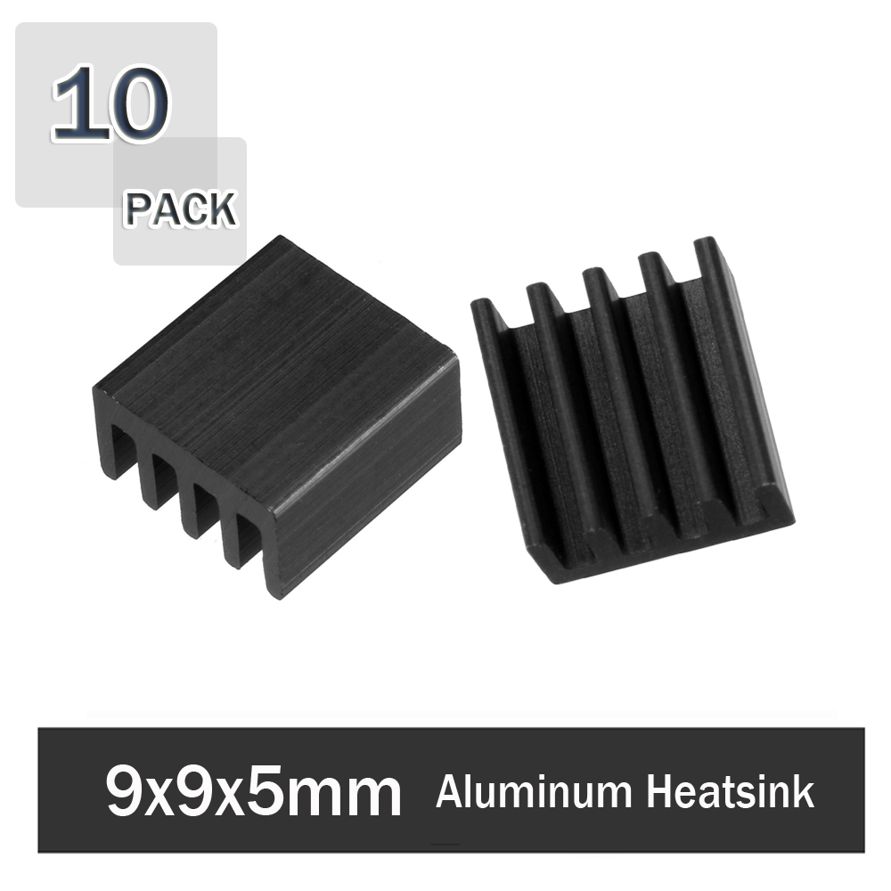 10Pcs Gdstime 9x9x5mm Aluminum Heatsink Cooler Circuit Board Cooling Fin Black for Led Semiconductor Integrated Circuit Device image