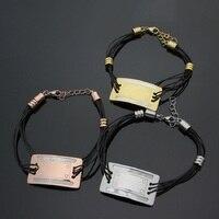 Eğlence 316L Paslanmaz Çelik Gümüş Renk/Gül Altın/Sarı Altın Renk Kadınlar için Kare Kabuk Halat Bilezik