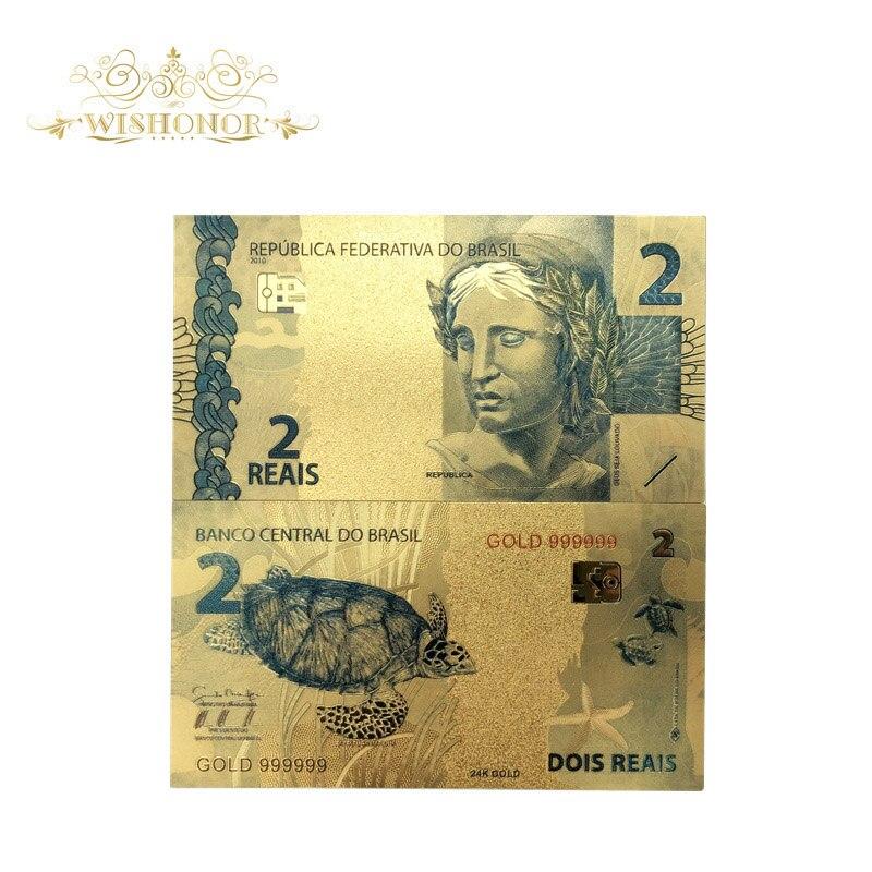 Produtos agradáveis 10 pçs/lote cor brasil notas de ouro 2 reais notas em 24k ouro chapeado dinheiro de papel para a coleção