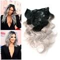Ломбер бразильский ролик в объемной волны серебристо-серый зажим-в 8 шт. 1B / серый ломбер клип в наращивание волос целую голову