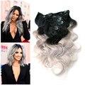 Ombre brasileño Clip en extensiones del pelo humano de la onda del cuerpo gris plata Clip en 8 unids 1B / gris Ombre Clip en extensiones de cabello cabeza llena