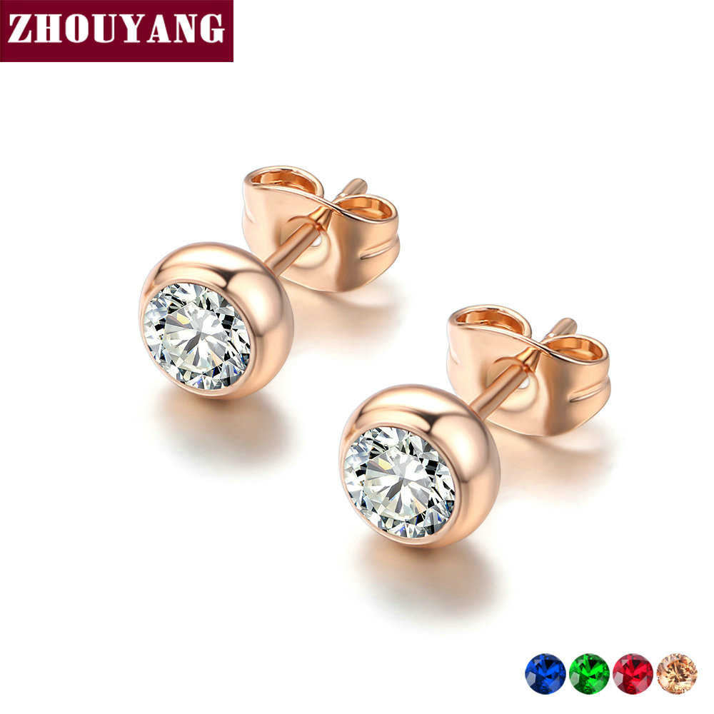 ZHOUYANG Stud Earring For Wome OL Style Concise Rose Gold Color Fashion Jewelry Austrian Crystal ZYE496