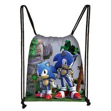 Mario Sonic Boom jeże 3D torba sznurkiem drukowanie plecak codziennie na co dzień chłopcy dziewczyny plecak torby ze sznurkiem tanie tanio ZeAiLi Poliester Miękki uchwyt Tłoczenie Łukowaty pasek na ramię Other Plecaki Unisex Miękka NONE Moda Ciąg Poniżej 20 litr