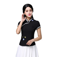 Summer New Women Short Sleeve Shirt Chinese Traditional Lady Mandarin Collar Butterfly Blouse Top Elegant Clothing Size S 3XL