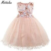 Formal Girls Dress Kids Sleeveless Butterfly Embroidery Flower Girl Dresses Child Wedding Party Frocks For 2