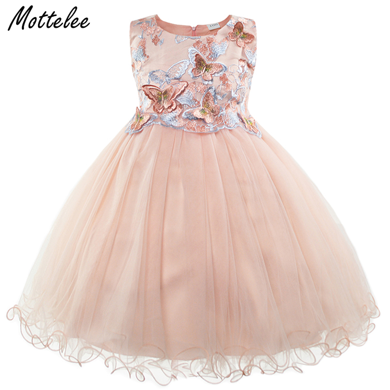 Girls Dress Butterfly Appliques Flower Frock Formal Baby Wedding Dresses Fancy Children Gown Kids Evening Party Clothes for Girl