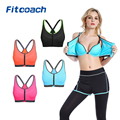 Encounter Women's Strech Removable Front Zipped Comfort Sports Bra