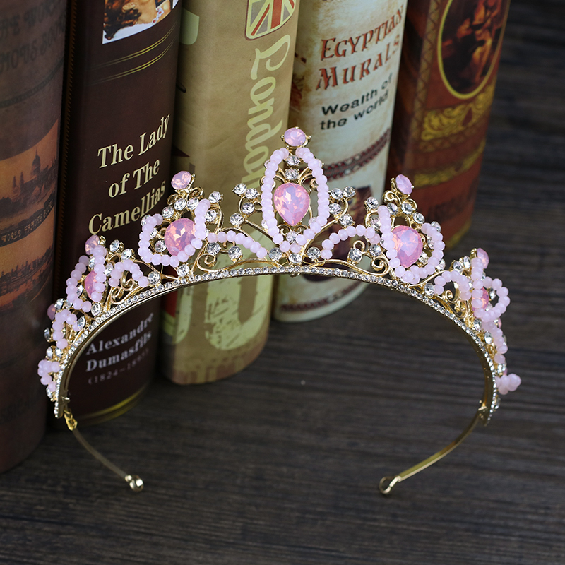 Baroque Pink Crystal Princess Crown Wedding tiara For Bridal Hair Accessories Handmade Rhinestone tiaras and crowns Hair Jewelry