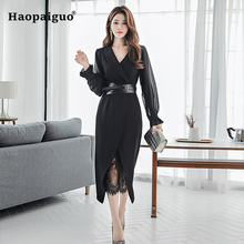 2 Piece Set Women Black Chiffion Blouse Shirt and Elegant Casual Bodycon Bandage Wrap Dress Two Plus Size