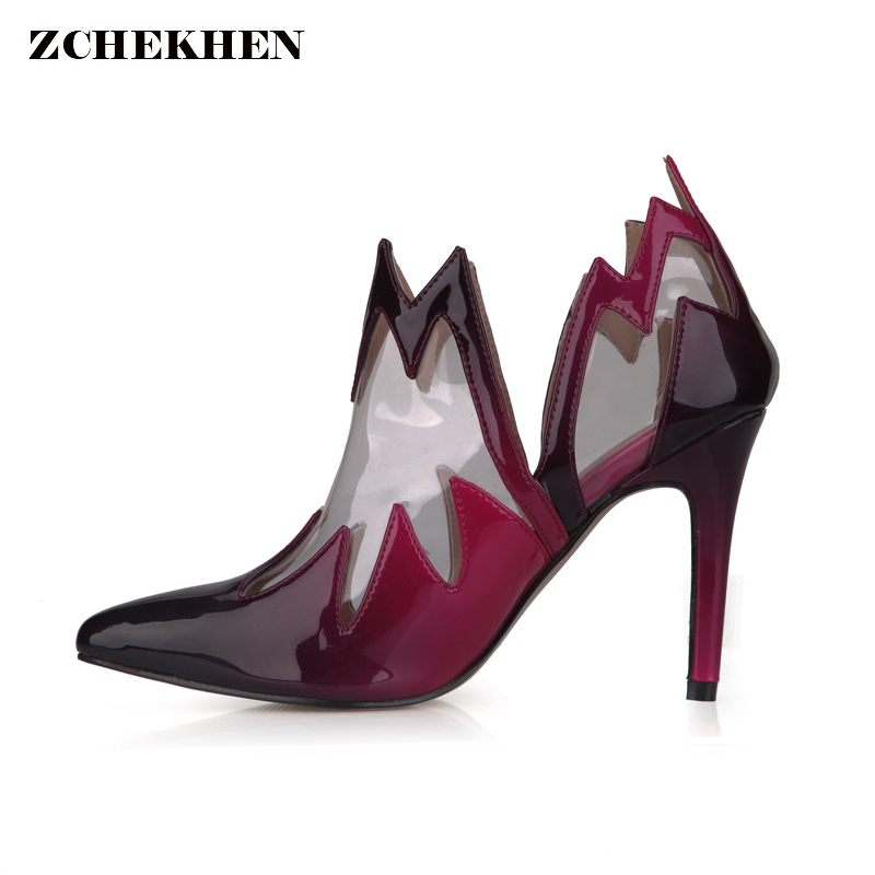 Transparent flame Women High Heel Boots Ladies Pointed Toe 9.8 Heel Wine Red Party Wedding Shoes Stiletto Pumps Shoes цены онлайн