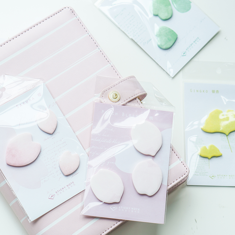Dokibook Creative Flower And Leaves Ginkgo Memo Pad Sticky Notes Post Bookmark Notebook Decoration Office And School Supplies