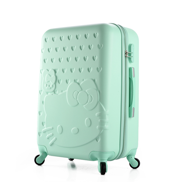 Girls Hello Kitty Luggage Women Cartoon Travel Suitcase ABS+PC Universal  Wheels Trolley Luggage Bag 20 b29f50674450c