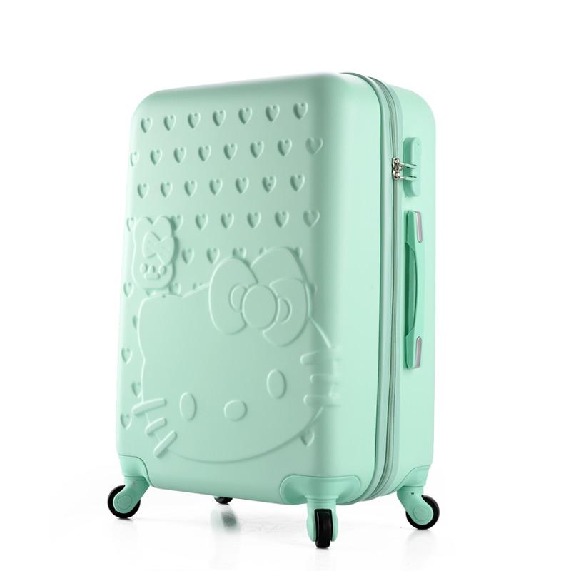 Girls Hello Kitty font b Luggage b font Women Cartoon Travel Suitcase ABS PC Universal Wheels
