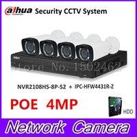 Dahua NVR Security CCTV Camera Kit NVR2108HS 8P S2 Motorized Zoom Camera IPC HFW4431R Z P2P