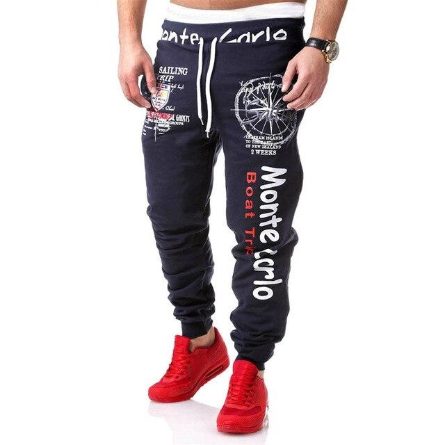 Одежда 2017 Мода Мужчины Бегунов Случайные Свободные Pantalon Homme Капри Брюки Мужчины Плюс Размер L-2XL Письмо Печати Штаны