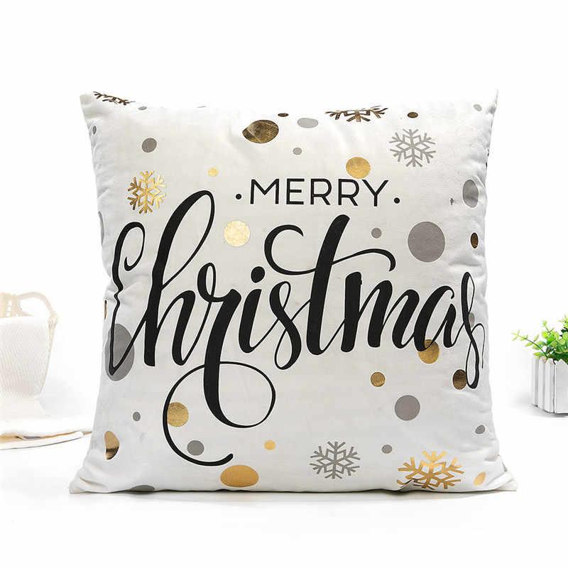 Fuwatacchi рождественские чехлы на декоративные подушки Черное золото фольга олень слова наволочка домашний стул диван лист губы наволочка 45*45
