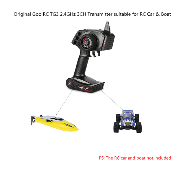 Original High Quality GoolRC TG3 2.4GHz 3CH Digital Radio Remote Control Transmitter with Receiver for RC Car or Boat