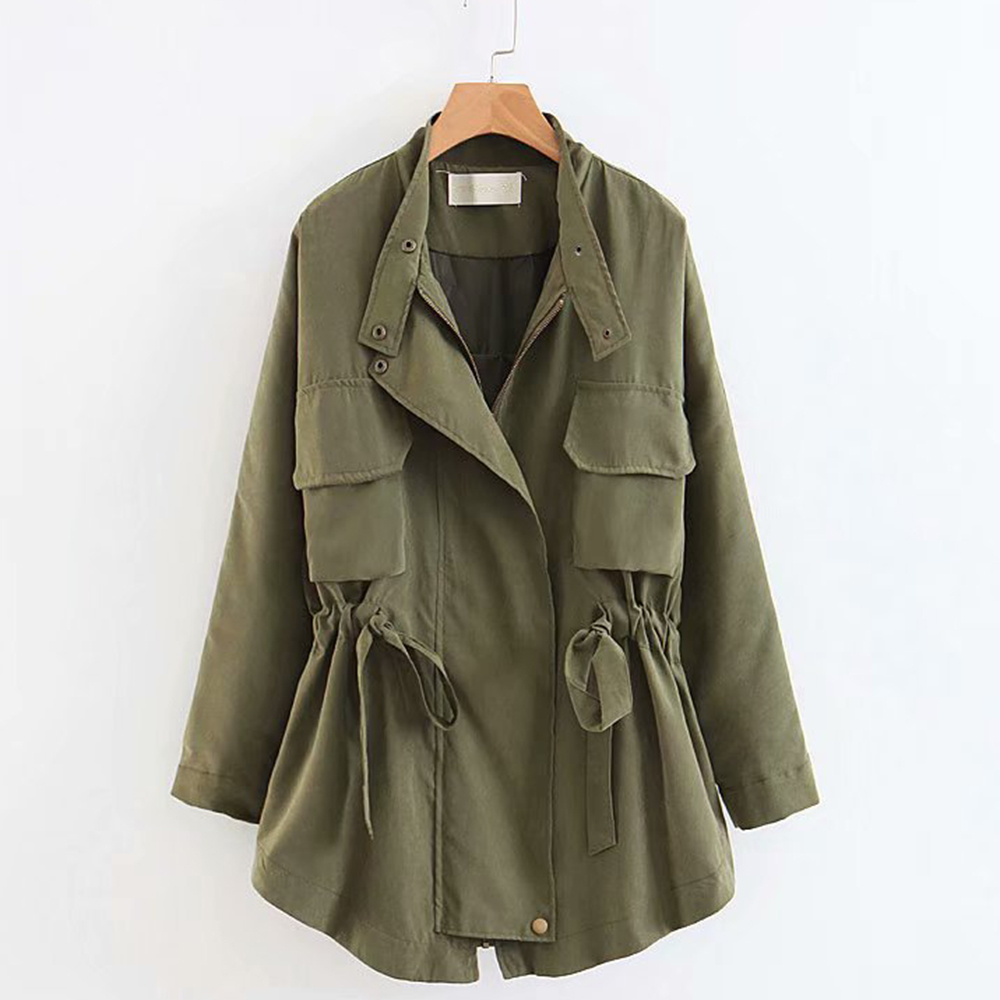 Casual   Trench   Coat For Women Long Sleeve Winter Autumn Windproof Pleated Outerwear Elastic Waist Pocket Fashion Loose Coats