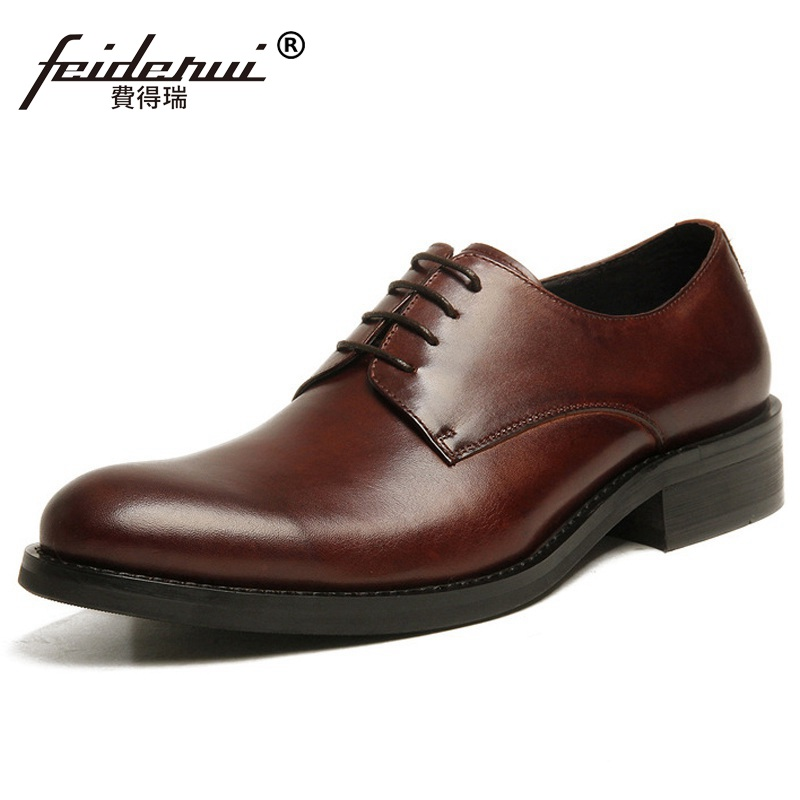 Fashion Formal Man Flat Platform Bridal Dress Shoes Genuine Leather Wedding Oxfords Luxury Brand Round Toe Men's Footwear RF71 mycolen mens shoes round toe dress glossy wedding shoes patent leather luxury brand oxfords shoes black business footwear
