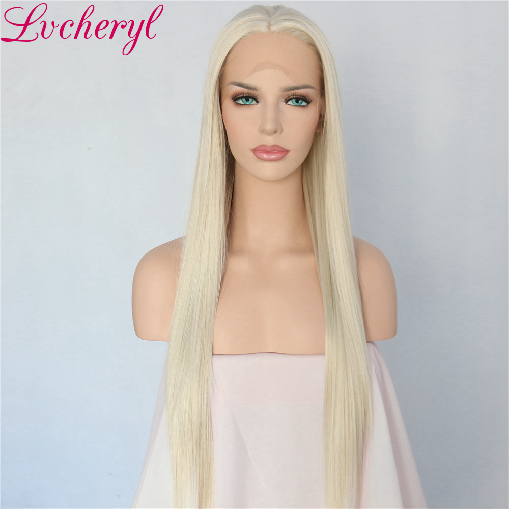 Lvcheryl Hand Tied Blonde Long Straight High Temperature Fiber Heat Resistant Glueless Synthetic Front Lace Wig
