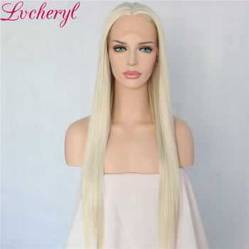 Lvcheryl Hand Tied Blonde Long Straight High Temperature Fiber Heat Resistant Glueless Synthetic Front Lace Wig For White Women