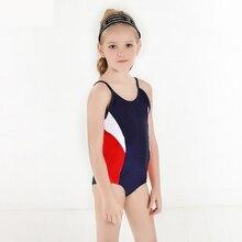 Детский купальный костюм Цельный купальный костюм для девочек контрастный детский пляжный костюм в стиле пэчворк Спортивный Купальный костюм купальный костюм