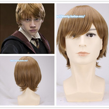 Mens Ron Weasley Brown Wig Comic Con Cosplay Hair Ronald Bilius role Play Costumes