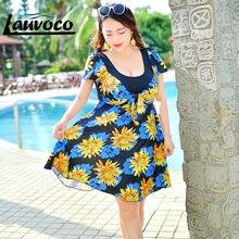 Plus Size Swimsuit for Women Bodysuit Bathing Suits Swimdress Ladies One Piece Swimwear Flower Print Short Sleeve Beachwear 2017 недорого