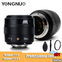 YONGNUO YN50mm lente YN 50mm F1.4 estándar principal lente de gran apertura de enfoque automático lente para Canon EOS 70D 5D2 5D3 600D cámara DSLR