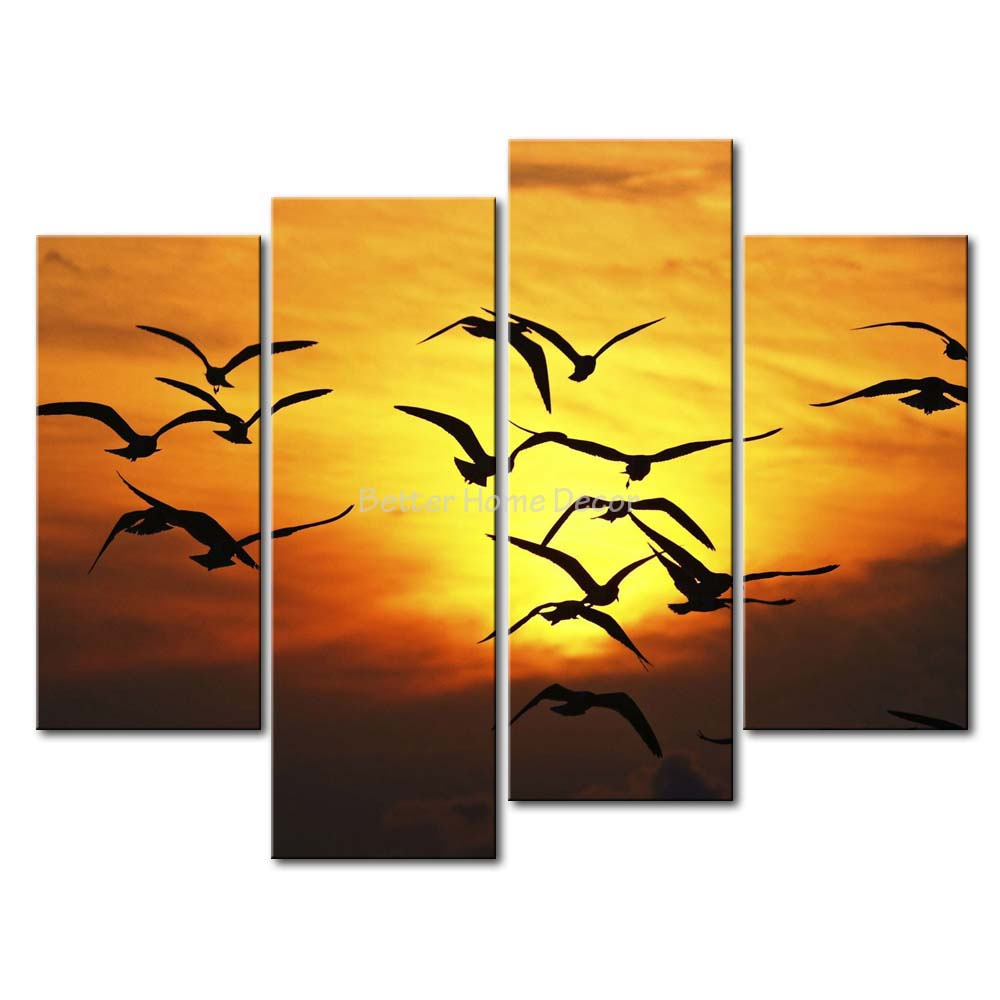 3 Piece Brown Wall Art Painting Bird Flock Silhouette In The Sunset ...
