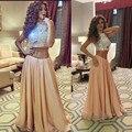Saudita brillante Crystal vestido con alta escote una línea de gasa piso vestidos largos de fiesta dos piezas vestidos baile RG261