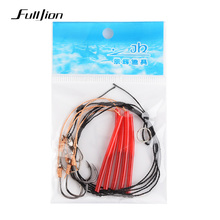 Fulljion Fishhooks Stainless Steel Rigs Swivel Fishing Tackle Lures Pesca Baits Single Combination String Hook With 5 Small Hook