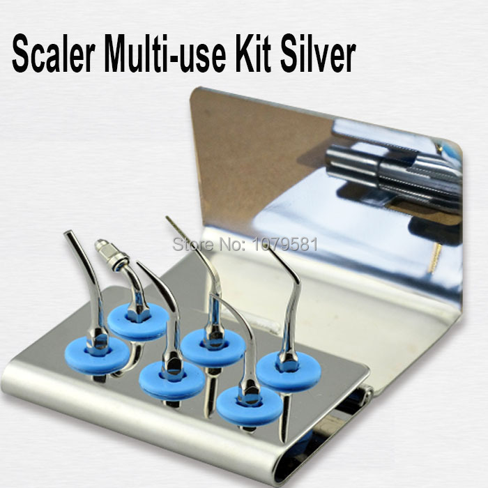 1 set EMUKS Scaler for EMS WOODPACKER Scaler Multi-use Kit Silver medical stainless steel Multi-use Kit Gold tooth tool medical micro plastic use stainless steel