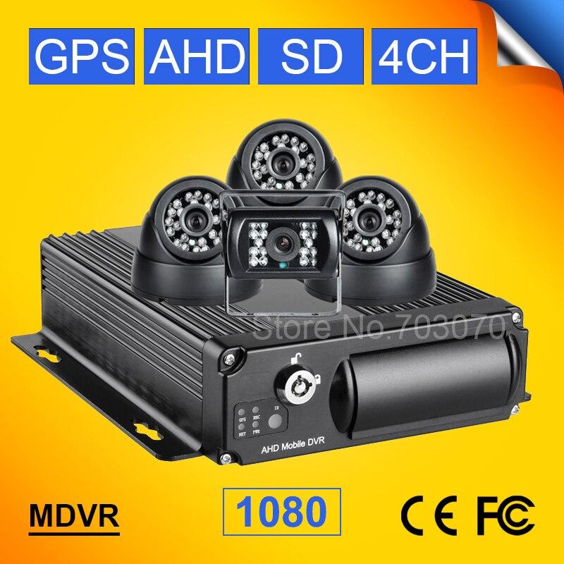 GPS AHD Автомобильный видеорегистратор Наборы 4 канала видео H.264/аудио Регистраторы Ав ...