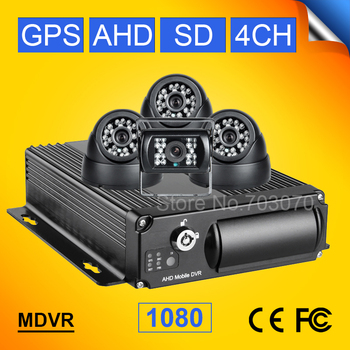 GPS AHD Car Mobile Dvr Kits 4Channel H.264  Video/Audio Recorder Car Dvr Built-in GPS,Record GPS Track PC Playback 1080 mdvr