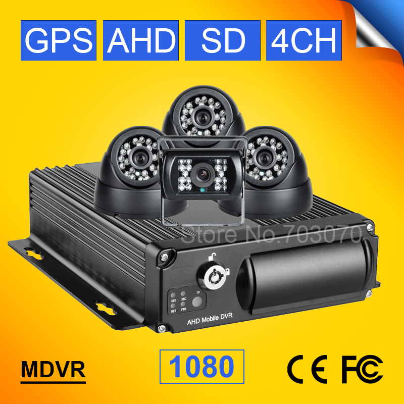 GPS AHD Car Mobile Dvr Kits <font><b>4Channel</b></font> H.264 Video/Audio Recorder Car Dvr Built-in GPS,Record GPS Track PC Playback 1080 <font><b>mdvr</b></font> image