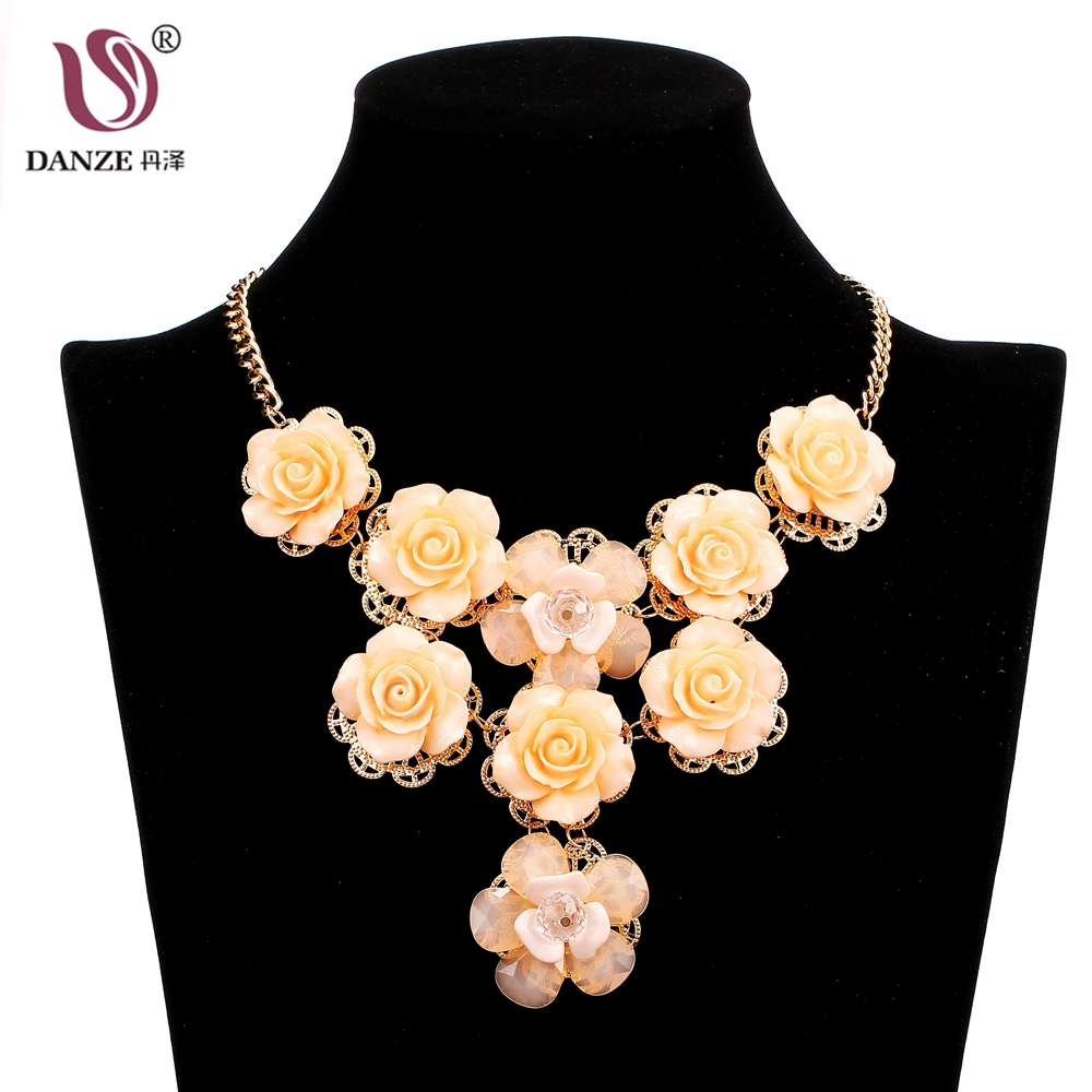 DANZE Brand Design Bohemian 9 Pcs Resin Flower Pendant Necklace For Women Chunky Sweater Chain Maxi Statement Jewelry Gifts
