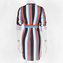 DeRuiLaDy Women Summer Striped Shirt Dress Ladies Casual Long Sleeve Loose Beach Dresses 2018 Autumn Fashion Print Dress Vestido